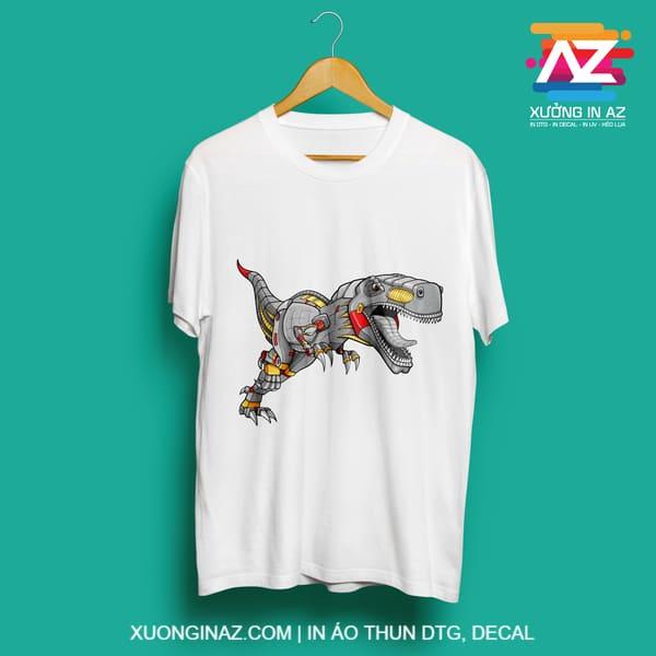 Áo thun in hình khủng long máy